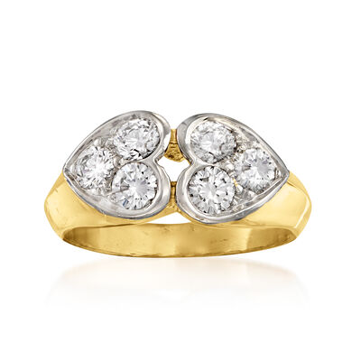 C. 1980 Vintage Tiffany Jewelry .89 ct. t.w. Diamond Double-Heart Ring in 18kt Yellow Gold