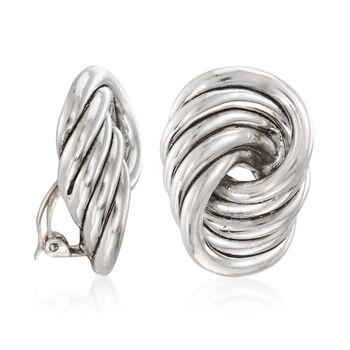 Sterling Silver Large Spiral Knot Clip-On Earrings