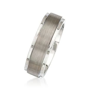 Men's 7mm Tungsten Carbide Brushed and Polished Wedding Ring, , default
