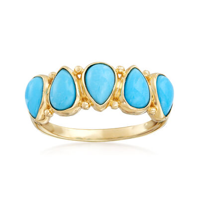Pear-Shaped Turquoise Ring in 14kt Yellow Gold, , default