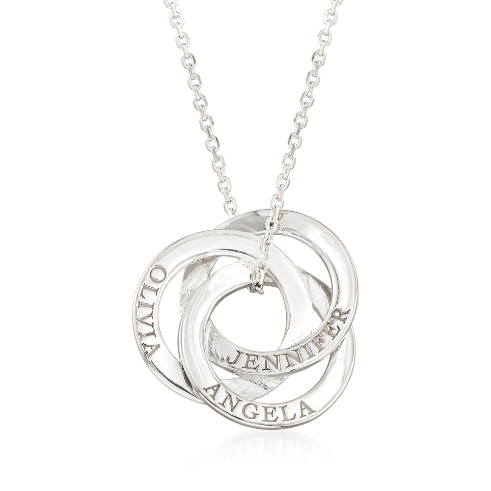 "6d8ee516a Sterling Silver Personalized Interlocking Circles Pendant Necklace.  16"", , default"