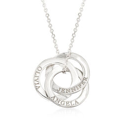 Sterling Silver Personalized Interlocking Circles Pendant Necklace, , default
