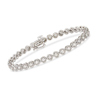 3.00 ct. t.w. Diamond Halo Bracelet in 14kt White Gold, , default