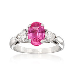 C. 2000. Vintage 1.61 Carat Pink Sapphire and .70 ct. t.w. Diamond Ring in Platinum, , default