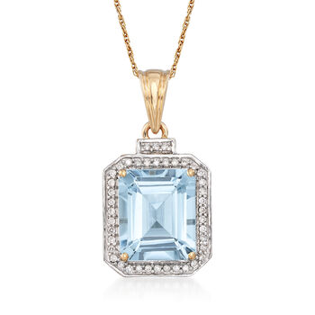 5.00 Carat Aquamarine and .20 ct. t.w. Diamond Pendant Necklace in 14kt Yellow Gold, , default
