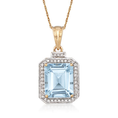 5.00 Carat Aquamarine and .20 ct. t.w. Diamond Pendant Necklace in 14kt Yellow Gold