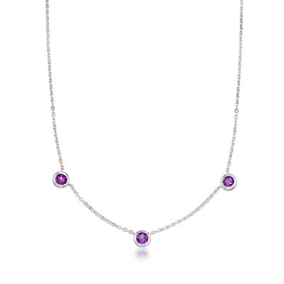 """Zina Sterling Silver """"Contemporary"""" 2.10 ct. t.w. Amethyst Station Necklace, , default"""