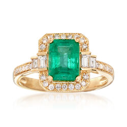1.40 Carat Emerald and .35 ct. t.w. Diamond Ring in 18kt Yellow Gold, , default