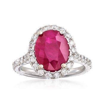 3.10 Carat Oval Ruby and 1.00 ct. t.w. Diamond Ring in 14kt White Gold, , default