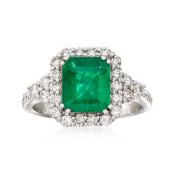 1.70 Carat Emerald and .67 ct. t.w. Diamond Ring in 18kt White Gold, , default
