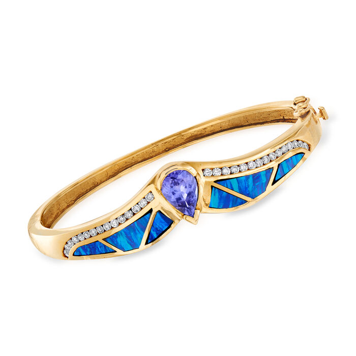 C. 1980 Vintage 1.78 Carat Tanzanite, Multicolored Opal and .75 ct. t.w. Diamond Bangle Bracelet in 14kt Yellow Gold. 7""