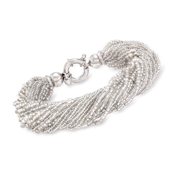 Italian White Murano Glass Bead Torsade Bracelet with Sterling Silver, , default