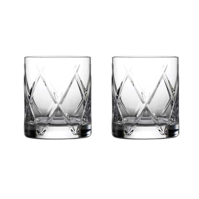 """Waterford Crystal """"Olann"""" Set of 2 Double Old-Fashioned Glasses"""