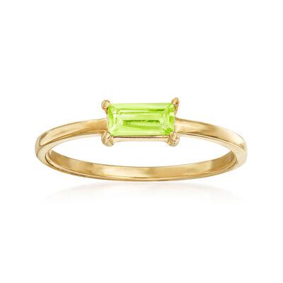 Italian .30 Carat Peridot Ring in 14kt Yellow Gold