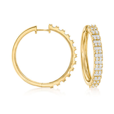 2.00 ct. t.w. Round and Baguette Diamond Hoop Earrings in 18kt Gold Over Sterling