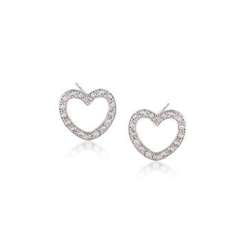 Italian .40 ct. t.w. CZ Heart Stud Earrings in Sterling Silver., , default