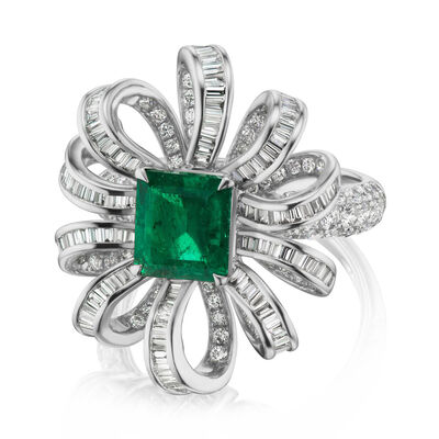1.50 Carat Emerald and 1.65 ct. t.w. Diamond Ring in 18kt White Gold