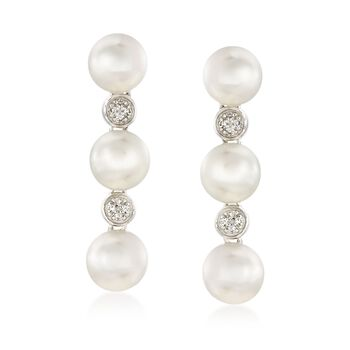 6.5-7mm Cultured Pearl Earrings With White Topaz Accents in Sterling Silver , , default