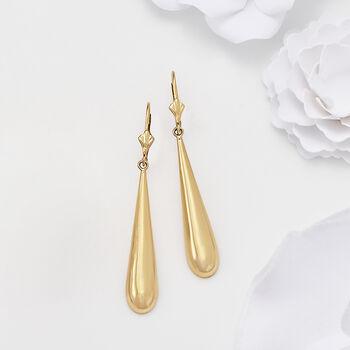14kt Yellow Gold Crowned Teardrop Earrings, , default