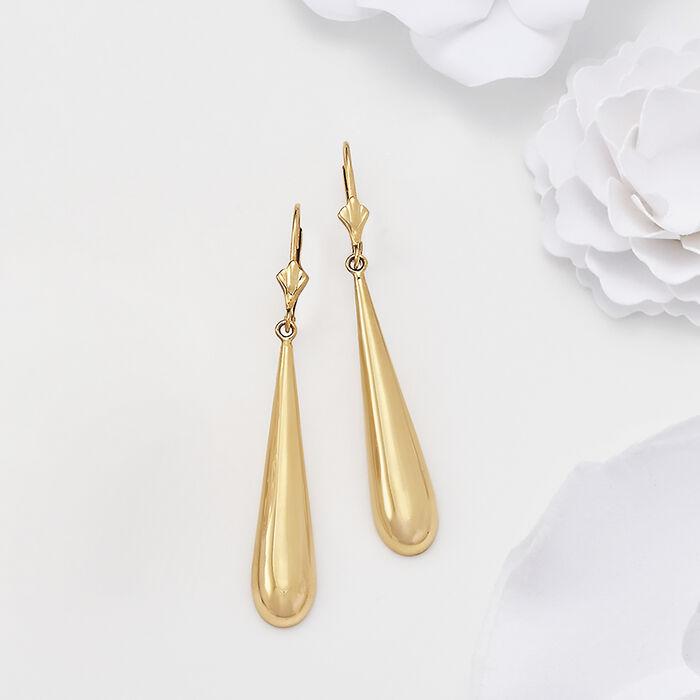 14kt Yellow Gold Crowned Teardrop Earrings