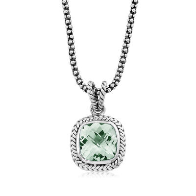 3.40 Carat Green Prasiolite Rope Pendant Necklace in Sterling Silver