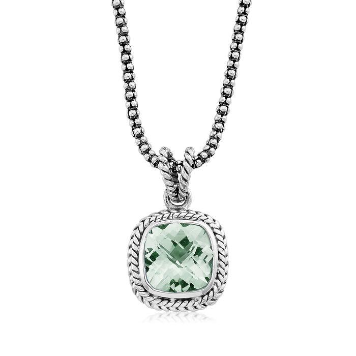 3.40 Carat Prasiolite Pendant Necklace in Sterling Silver