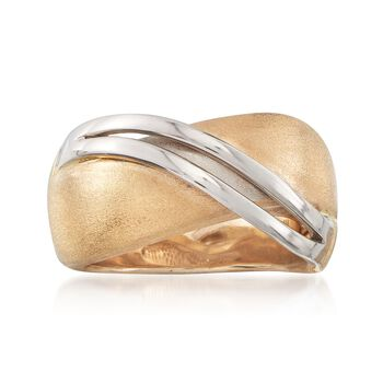 14kt Two-Tone Gold Sash Ring, , default