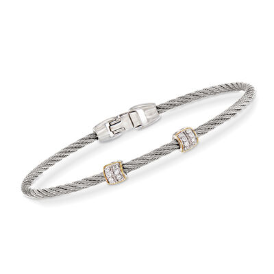 "ALOR ""Classique"" .13 ct. t.w. Diamond Gray Stainless Steel Cable Bracelet, , default"
