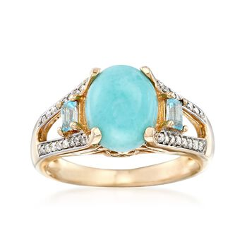 Larimar and .20 ct. t.w. Blue Topaz Ring With .16 ct. t.w. Diamonds in 14kt Yellow Gold, , default