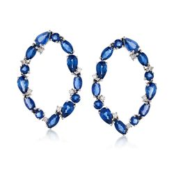 4.60 ct. t.w. Sapphire and .14 ct. t.w. Diamond Open Oval Drop Earrings in 14kt White Gold, , default