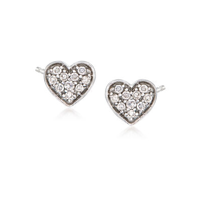 14kt White Gold Heart Earrings with Diamond Accents, , default