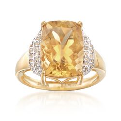 6.00 Carat Champagne Quartz and .10 ct. t.w. White Topaz Ring in 18kt Gold Over Sterling. Size 5, , default