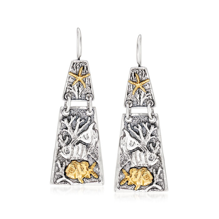 Sterling Silver and 14kt Yellow Gold Sea Life Drop Earrings