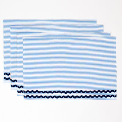 Set of 4 Blue Seersucker Placemats, , default