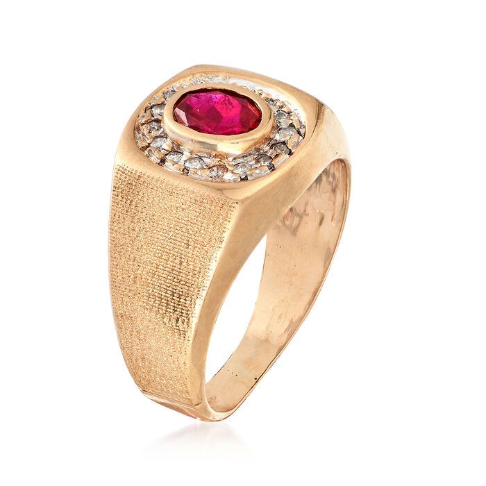 C. 1970 Vintage .85 Carat Ruby and .20 ct. t.w. Diamond Ring in 10kt Yellow Gold