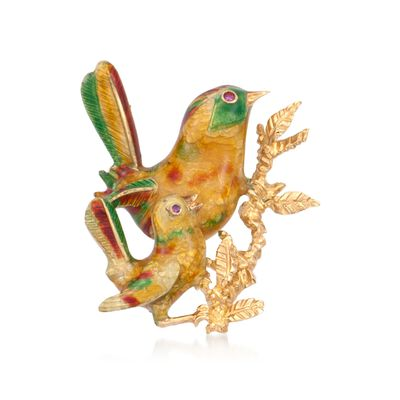 C. 1970 Vintage Enamel and Diamond Bird Pin in 18kt Yellow Gold, , default
