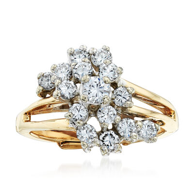 C. 1980 Vintage 1.00 ct. t.w. Diamond Cluster Ring in 14kt Yellow Gold, , default