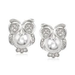 .25 ct. t.w. Diamond Owl Earrings in Sterling Silver, , default