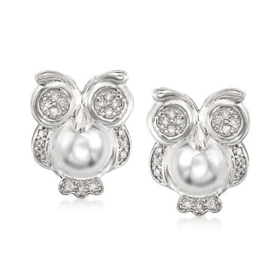 .25 ct. t.w. Diamond Owl Earrings in Sterling Silver, , default