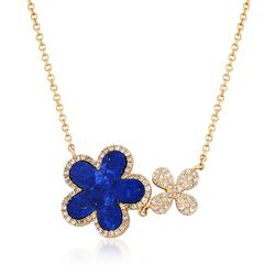 "Lapis and .22 ct. t.w. Diamond Double Flower Necklace in 14kt Yellow Gold. 18"", , default"