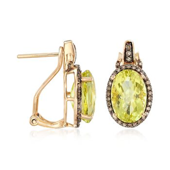 6.25 ct. t.w. Lemon Quartz and .34 ct. t.w. Brown Diamond Earrings in 14kt Yellow Gold, , default