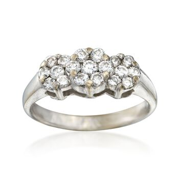 C. 2000 Vintage .84 ct. t.w. Diamond Triple Cluster Ring in 14kt White Gold. Size 7.5, , default
