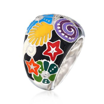"Belle Etoile ""Starfish"" Black and Multicolored Enamel Ring with CZs in Sterling Silver. Size 7, , default"