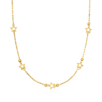 Italian 14kt Yellow Gold Paper Clip Link Star Station Necklace