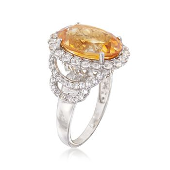 4.90 Carat Citrine and 1.00 ct. t.w. White Topaz Ring in Sterling Silver, , default