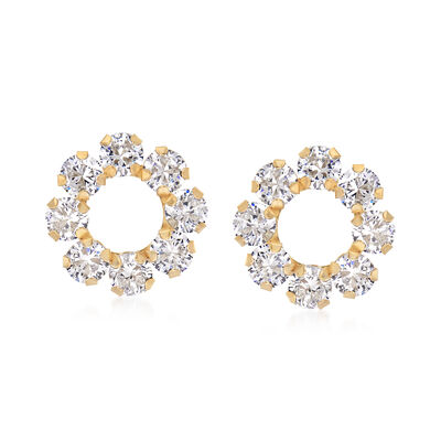1.60 ct. t.w. CZ Open Circle Earrings in 14kt Yellow Gold, , default