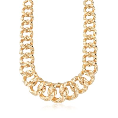 Italian 14kt Yellow Gold Graduated Wavy-Link Necklace