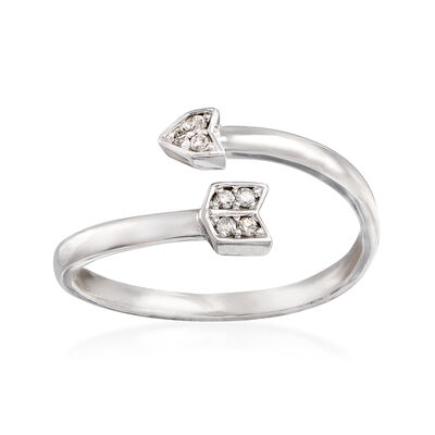 C. 2000 Vintage 14kt White Gold Arrow Ring with Diamond Accents, , default