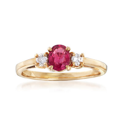 C. 1990 Vintage .50 Carat Ruby and .15 ct. t.w. Diamond Ring in 14kt Yellow Gold, , default