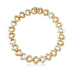 "C. 1980 Vintage 18kt Two-Tone Gold Puffed Circle Link Necklace. 16.5"", , default"